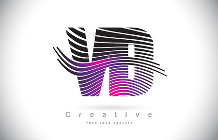 VD V D Zebra Texture Letter Logo Design With Creative Lines and Swosh in Purple Magenta Color Vector.