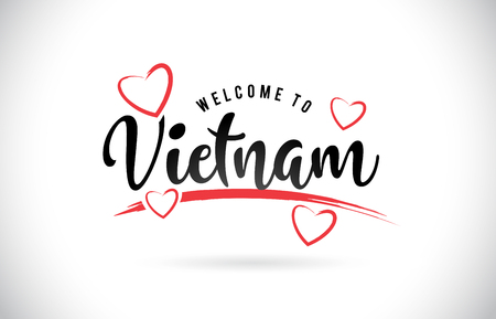 Vietnam Welcome To Word Text with Handwritten Font and Red Love Hearts Vector Image Illustration Eps.