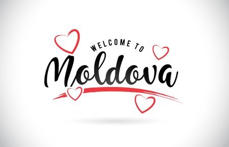 Moldova Welcome To Word Text with Handwritten Font and Red Love Hearts Vector Image Illustration Eps. Vectores