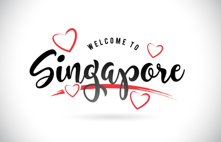Singapore Welcome To Word Text with Handwritten Font and Red Love Hearts Vector Image Illustration Eps.  イラスト・ベクター素材