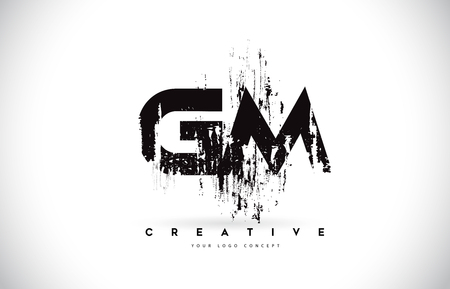 GM G M Grunge Brush Letter Logo Design in Black Colors. Creative Brush Letters Vector Illustration.