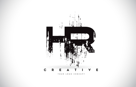 HR H R Grunge Brush Letter Logo Design in Black Colors. Creative Brush Letters Vector Illustration.