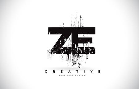 ZE Z E Grunge Brush Letter Logo Design in Black Colors. Creative Brush Letters Vector Illustration. Logo