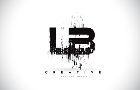 LB L B Grunge Brush Letter Logo Design in Black Colors. Creative Brush Letters Vector Illustration.