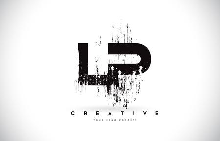 LP L P Grunge Brush Letter Logo Design in Black Colors. Creative Brush Letters Vector Illustration. Ilustração