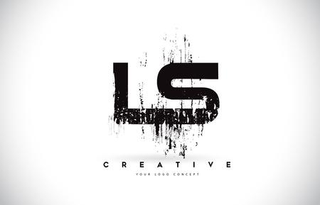 LS L S Grunge Brush Letter Logo Design in Black Colors. Creative Brush Letters Vector Illustration.