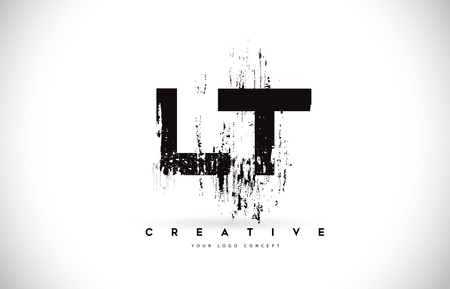 LT L T Grunge Brush Letter Logo Design in Black Colors. Creative Brush Letters Vector Illustration.