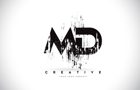 MD M D Grunge Brush Letter Logo Design in Black Colors. Creative Brush Letters Vector Illustration.