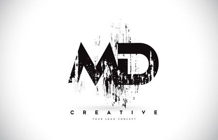 Création de Logo de lettre MD MD Grunge Brush dans les couleurs noires. Illustration vectorielle de brosse créative lettres.