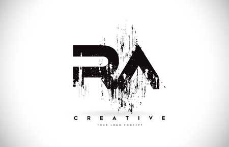 RA RA Grunge pędzla list Logo Design w kolorach czarnym. Ilustracja wektorowa listów kreatywnych pędzla.