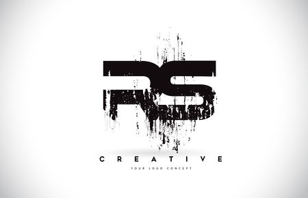 RS R S Grunge Brush Letter Logo Design in Black Colors. Creative Brush Letters Vector Illustration. Logó