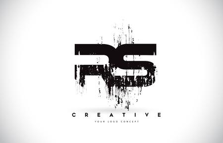 RS R S Grunge Brush Letter Logo Design in Black Colors. Creative Brush Letters Vector Illustration. Illustration