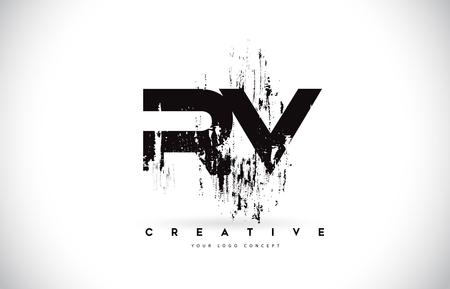 RV R V Grunge Brush Letter Logo Design in Black Colors. Creative Brush Letters Vector Illustration.