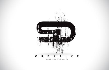 SD S D Grunge Brush Letter Logo Design in Black Colors. Creative Brush Letters Vector Illustration.