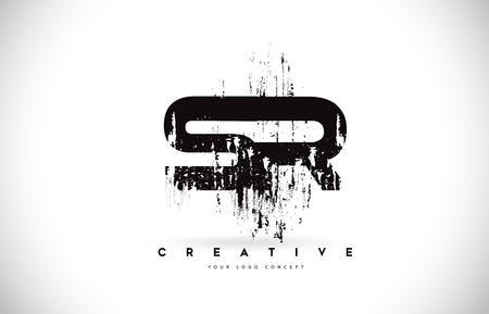 SR S R Grunge Brush Letter Logo Design in Black Colors. Creative Brush Letters Vector Illustration.