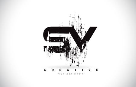 SV S V Grunge Brush Letter Logo Design in Black Colors. Creative Brush Letters Vector Illustration. Illustration