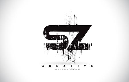 SZ S Z Grunge Brush Letter Logo Design in Black Colors. Creative Brush Letters Vector Illustration.
