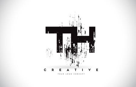 TH T H Grunge Brush Letter Logo Design in Black Colors. Creative Brush Letters Vector Illustration.