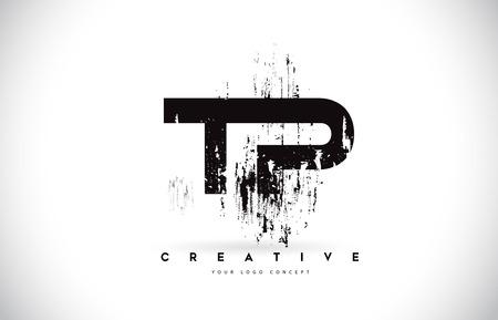 TP T P Grunge Brush Letter Logo Design in Black Colors. Creative Brush Letters Vector Illustration. Illustration