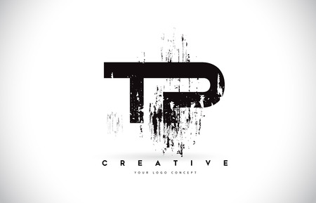 TP T P Grunge Brush Letter Logo Design in Black Colors. Creative Brush Letters Vector Illustration. Ilustração