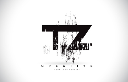 TZ T Z Grunge Brush Letter Logo Design in Black Colors. Creative Brush Letters Vector Illustration. Logó
