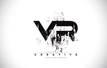 VR V R Grunge Brush Letter Logo Design in Black Colors. Creative Brush Letters Vector Illustration. Illustration