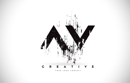 AV AV Grunge Brush Letter Logo Design w kolorach czarnym. Ilustracja wektorowa listów kreatywnych pędzla.