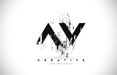 AV AV Spazzola Grunge Lettera Logo Design nei colori nero. Illustrazione creativa di vettore delle lettere della spazzola.