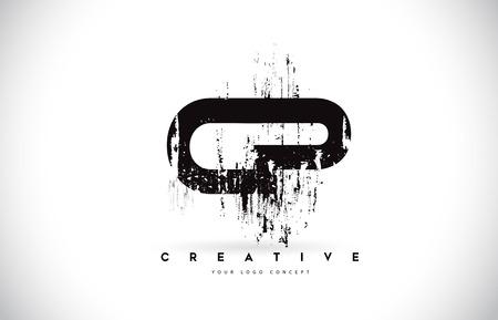 CP C P Grunge Brush Letter Logo Design in Black Colors. Creative Brush Letters Vector Illustration. Ilustração