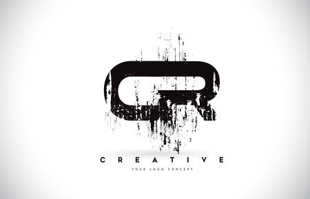 CR C R Grunge Brush Letter Logo Design in Black Colors. Creative Brush Letters Vector Illustration.
