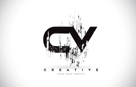 CV C V Grunge Brush Letter Logo Design in Black Colors. Creative Brush Letters Vector Illustration. Çizim