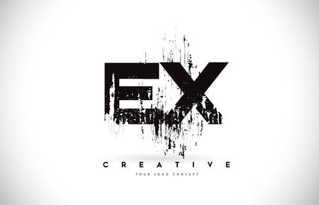 EX E X Grunge Brush Letter Logo Design in Black Colors. Creative Brush Letters Vector Illustration. Logo