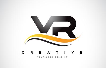 VR V R Swoosh Letter Logo Design with Modern Yellow Swoosh Curved Lines Vector Illustration. Ilustrace