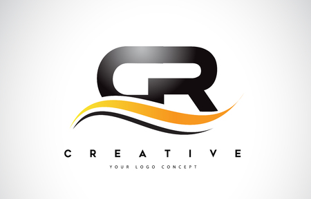 CR C R Swoosh Letter Logo Design with Modern Yellow Swoosh Curved Lines Vector Illustration. 矢量图像