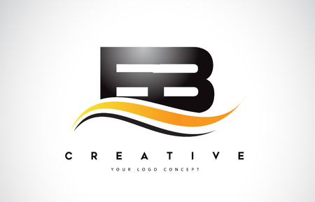EB E B Swoosh Letter Logo Design with Modern Yellow Swoosh Curved Lines Vector Illustration.