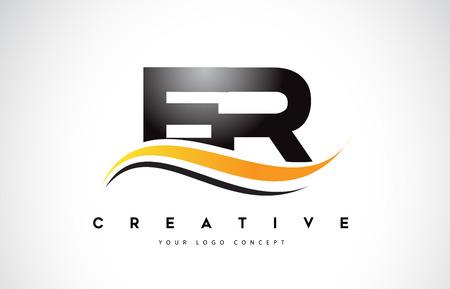 ER E R Swoosh Letter Logo Design with Modern Yellow Swoosh Curved Lines Vector Illustration.