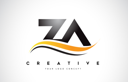 ZA Z A Swoosh Letter Logo Design with Modern Yellow Swoosh Curved Lines Vector Illustration.