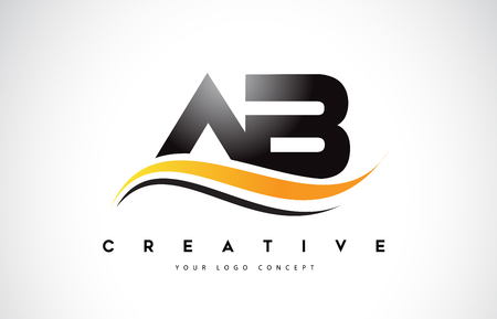 AB A B Swoosh Letter Logo Design with Modern Yellow Swoosh Curved Lines Vector Illustration.