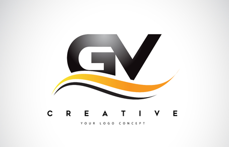 GV G V Swoosh Letter Logo Design with Modern Yellow Swoosh Curved Lines Vector Illustration.