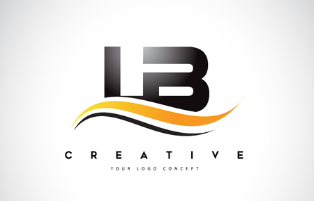 LB L B Swoosh Letter Logo Design with Modern Yellow Swoosh Curved Lines Vector Illustration. Illustration