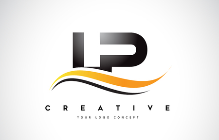 LP L P Swoosh Letter Logo Design with Modern Yellow Swoosh Curved Lines Vector Illustration.