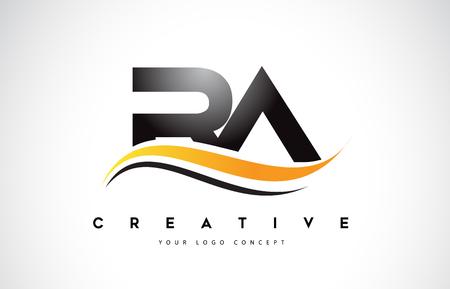 RA RA Swoosh list Logo Design z ilustracji wektorowych nowoczesny żółty Swoosh zakrzywione linie.