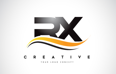 RX R X Swoosh Letter Logo Design with Modern Yellow Swoosh Curved Lines Vector Illustration.