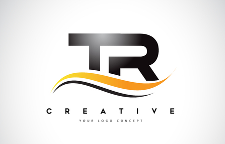 TR T R Swoosh Letter Logo Design with Modern Yellow Swoosh Curved Lines Vector Illustration.