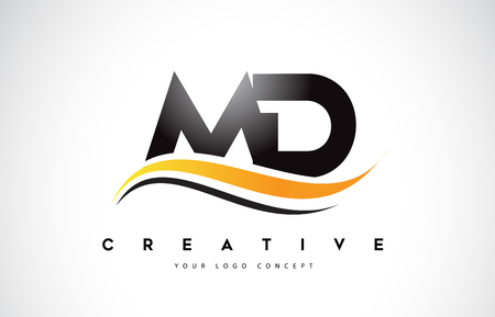 MD M D Swoosh Letter Logo Design with Modern Yellow Swoosh Curved Lines Vector Illustration.