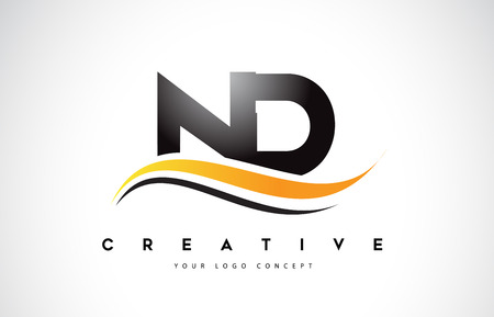 ND N D Swoosh Letter Logo Design with Modern Yellow Swoosh Curved Lines Vector Illustration.
