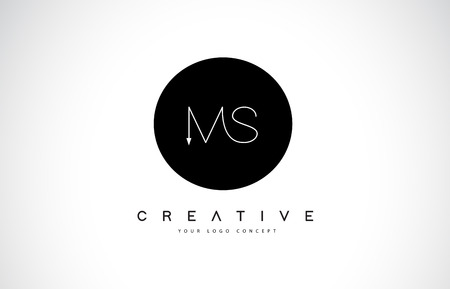 MS M S Logo Design with Black and White Creative Icon Text Letter Vector.