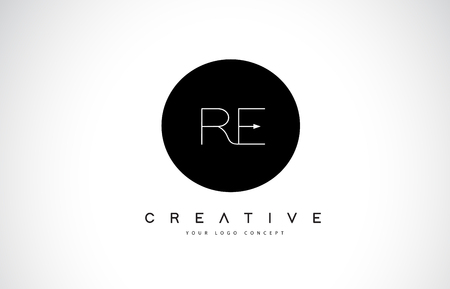 RE R E Logo Design with Black and White Creative Icon Text Letter Vector. Illustration