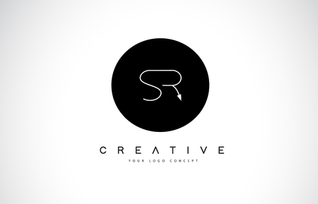 SR S R Logo Design with Black and White Creative Icon Text Letter Vector.