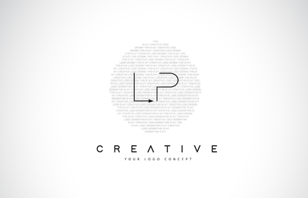 LP L P Logo Design with Black and White Creative Icon Text Letter Vector. Illustration